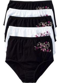 Lot de 5 culottes taille haute, bpc bonprix collection, noir/blanc