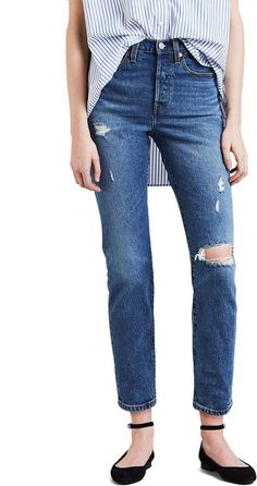 544c8bc41fd levi's Wedgie Icon Fit Ripped High Waist Ankle Jeans Flattering Outfits,  High Jeans, Denim