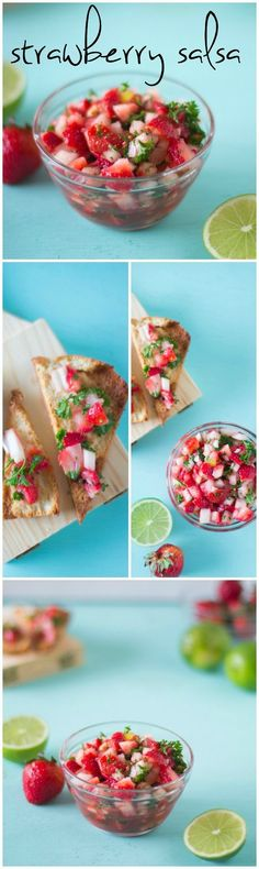 This easy and addictive strawberry salsa comes together in less than ten minutes, and is about to become your new favourite salsa! #vegan #salsa