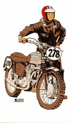 Tumblr is a place to express yourself, discover yourself, and bond over the stuff you love. It's where your interests connect you with your people. Motorcycle Posters, Retro Motorcycle, Motorcycle Style, Triumph Motorcycles, Vintage Motorcycles, Triumph Scrambler, Love Wallpaper Backgrounds, Cartoon Crazy, Biker Tattoos