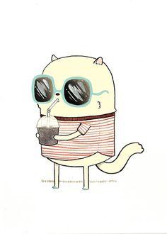 Arte stampa il migliore granita 5x7 Cool Cat