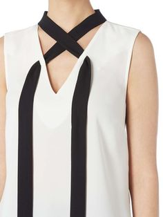 Buy your Linea Yana Tie Neck Sleeveless Blouse online now at House of Fraser. Why not Buy and Collect in-store? Buy your Linea Yana Tie Neck Sleeveless Blouse online now at House of Fraser. Why not Buy and Collect in-store? Source by mariannetomek Blouses Fashion Details, Diy Fashion, Fashion Dresses, Winter Fashion, Sewing Clothes, Diy Clothes, Clothes For Women, Neckline Designs, Blouse Designs