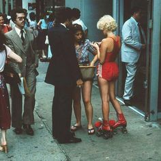NYC. 1970s. Red roller skates.
