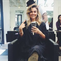 Stars Get Into the Holiday Spirit in This Week's Celebrity Candids : Graceland actress Serinda Swan took a selfie before getting her hair cut.