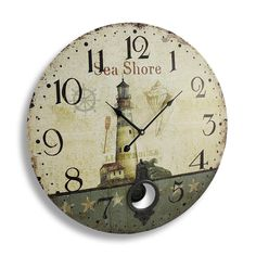 Antique Finish Seashore Lighthouse Wall Clock with Pendulum 23 In. | eBay