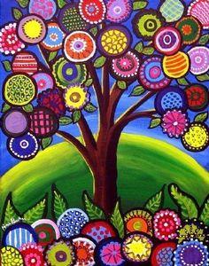 whimsical tree, colourful folk art, typical textile work made into a print Arte Popular, Naive Art, Whimsical Art, Art Plastique, Elementary Art, Art Auction, Tree Art, Doodle Art, Oeuvre D'art