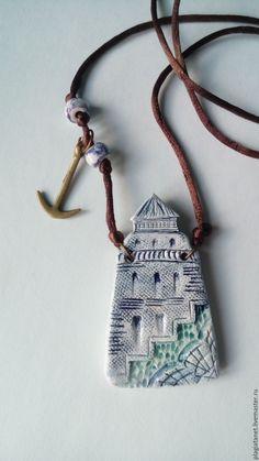 Ceramic pendant Lighthouse | Купить Старый маяк - голубой, маяк, керамический кулон, Керамика, керамика ручной работы