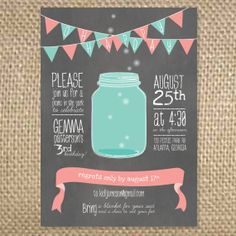 Picnic Firefly Mason Jar Birthday Invitation by uluckygirl on Etsy, $1.75