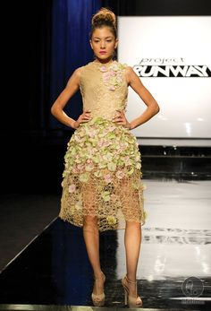 Bridal party dress on Project Runway 2013 unconventional challenge~ flowers and hardware