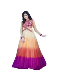 Colour Multi Color Fabric Net Inner Fabric Santoon Occasion Bridal, Party, Wedding, Reception Size Free Size Type Gown