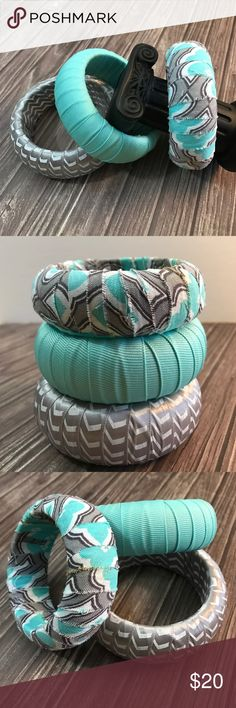"""Bangles Three (1"""" width) textile wrapped wooden bangles. One with loose ends design. Best fit for Petite Small to Small wrists. Colors: turquoise, gray and white. D.Green Designs Jewelry Bracelets"""