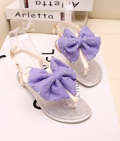 Purple bow sandals #bows #purple #sandals&such