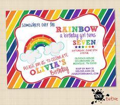 Rainbow Digital Invitation - Rainbow Invite, Birthday Party Invitation, Printable Invite, DIY Invitation
