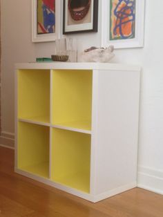 This is a brand new IKEA KALLAX , the succesor to the legendary EXPEDIT bookcase.  We had no idea when it was going to be released.  And then suddenly yesterday there it was!  We PANYLed the interior surfaces in Day Glo.