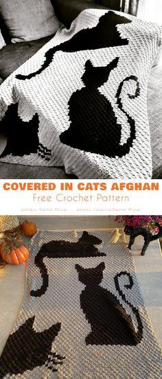 Black Cat White Cat Blanket Free Crochet Patterns - Afghans Crochet FreeCovered in Cats Afghan C2c Crochet Blanket, Crochet Stitches, Crochet Afghans, Afghan Blanket, Tapestry Crochet Patterns, Knitting Patterns, Cat Pattern, Free Pattern, Free Crochet