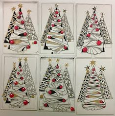 SimTangle : Christmas Classes and the last Challenges of DC and IAST Zentangle Drawings, Doodles Zentangles, Zentangle Patterns, Doodle Patterns, Christmas Makes, Christmas Art, Christmas Decorations, Christmas Doodles, Christmas Drawing