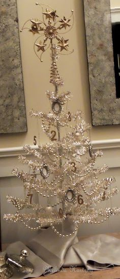 New Year Tree. Number ornaments on holiday tree. Transiti… – Home Decoration French Country Christmas, Shabby Chic Christmas, Silver Christmas, Victorian Christmas, Christmas Love, Beautiful Christmas, Vintage Christmas, Christmas Holidays, Christmas Trees