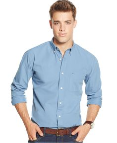 Tommy Hilfiger Solid Long-Sleeve Button-Down Shirt - Shirts - Men - Macy's