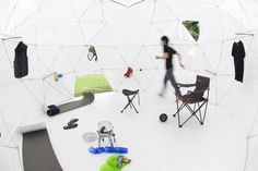 Kengo Kuma, pop-up shelter, tyvek, Casa Umbrella, Triennale Di Milano, Architecture, Tiny Homes, Art, Green Materials, Eco Textiles, Daylighting,