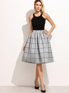 Grey Grid Box Pleated Skirt  SKU: skirt160928701  US - $23.99