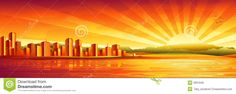 Panorama Grande Do Por Do Sol Da Cidade Imagens de Stock Royalty Free - Imagem: 3361649
