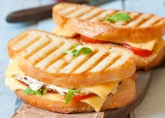 Adding a bit of basil mayonnaise to this turkey panini is just what the doctor ordered, it's definitely going to spice up a boring sandwich! Tostadas, Lunch Items, Grilled Cheese Recipes, Lunch Meal Prep, Football Food, How To Make Bread, What To Cook, Best Breakfast, Cooking Recipes