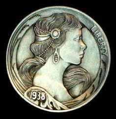 Howard Thomas - Classic Beauty Hobo Nickel, Coin Art, Money Talks, Rare Coins, Classic Beauty, Art Forms, Sculpture Art, Skulls, 4x4