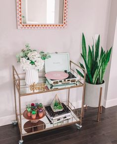 """Obtain terrific suggestions on """"gold bar cart styling"""". They are actually offered for you on our web site. Diy Bar Cart, Gold Bar Cart, Bar Cart Styling, Bar Cart Decor, Bar Carts, Home Interior, Interior Decorating, Decorating Ideas, Coffee Bar Home"""