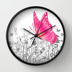 #fantasy #butterfy#animals #insects #girly #pretty #wallclock #walldecor in different #homedecor products. Check more at society6.com/julianarw