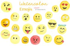 Watercolor Clip Art - Emoji by Maria B. Paints on Creative Market