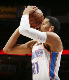 Oklahoma City's Andre Roberson (21) takes a shot during an NBA basketball game between the Oklahoma City Thunder and the Minnesota Timberwolves at Chesapeake Energy Arena in Oklahoma City, Sunday, Oct. 22, 2017. Photo by Nate Billings, The Oklahoman