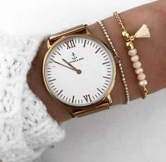 Armband Gliederkette Perlen Quaste beige gold Bracelet tassel