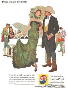 "1960 Pepsi ad - I hope it's a costume party otherwise these ""sociable"" people are strangely dressed"