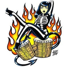 Vince Ray rockabilly skeletal girl art