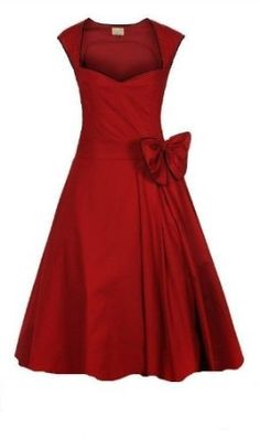 CLASSY VINTAGE 1950's ROCKABILLY STYLE RED BOW SWING PARTY EVENING DRESS: Amazon.co.uk: Clothing