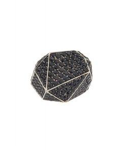 Kara Ross: Big Pyramid Ring, Sterling Silver with all over Black Sapphire Pave