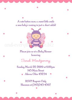 Butterfly Baby Shower Birthday Invitation by PhotoInvitations, $1.50