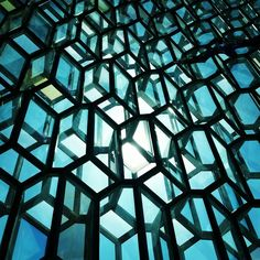Looking out from the Harpa Concert Hall in Reykjavik, Iceland
