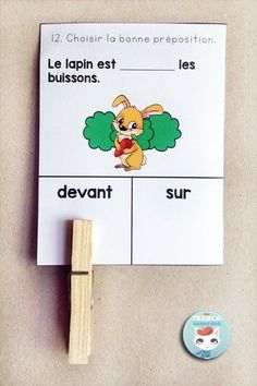 French Parts of Speech Resources: les classes de mots. Clip cards to practice choosing the right prepositions in French. French Teacher, Teaching French, French Prepositions, French Flashcards, French Education, French Grammar, French Classroom, French Resources, French School