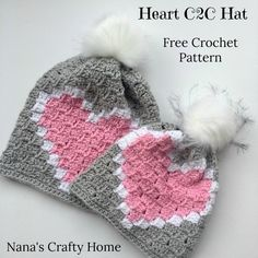 Beanie Crochet Heart Hat Free Crochet Pattern - The Heart Hat is a free crochet pattern for the Corner to Corner crochet technique! With a matching scarf this set is fun and easy to make! Crochet Beanie Pattern, C2c Crochet, Crochet Crafts, Double Crochet, Single Crochet, Crochet Hooks, Crochet Projects, Free Crochet, Crochet Patterns