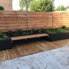 Backyard Fences, Garden Landscaping, Outside Seating, Wall Seating, Sweet Home, New Homes, Landscape, Outdoor Decor, Plants