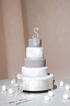 Silver and white wedding cake. Wedding by Southern Event Planners. Photo by Event Planners, Cake Wedding, Dessert Tables, Southern, Celebrities, Party, Desserts, Silver, Tailgate Desserts