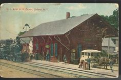 1911 Delaware–Lackawanna Railroad D.L. & RR Depot Oxford New York Postcard NY