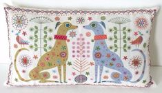 Dogs Embroidery Kit made into a cushion - Nancy Nicholson