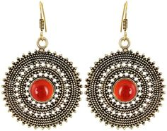 Onyx Jhumki Earring, Red Every Day Wear For Women, Gift For Mother, fit every cloths - Waama Jewels Earring