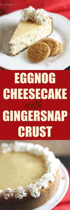 Eggnog Cheesecake with Gingersnap Crust topped with Reddi-Wip by Rose Bakes #SharetheJoy #ad #CollectiveBias  Recipe here --> http://rosebakes.com/eggnog-cheesecake-gingersnap-crust/ Dessert Haloween, Eggnog Pie, Eggnog Drinks, Eggnog Recipe, Eggnog Cookies, Cookies Vegan, Cinnamon Cookies, Cake Cookies, Cocktails