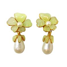 CHANEL Pearl Drop Gripoix Glass Flower Tops 1980s