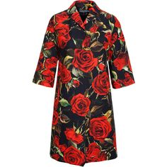 DOLCE & GABBANA Cotton Rose Coat ($1,995) ❤ liked on Polyvore featuring outerwear, coats, dresses, jackets, dolce&gabbana, floral coat, red coat, cotton coat and print coat