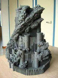 LOTR Scenery building: Hobbiton, Orthanc, etc. Mines Of Moria, Barad Dur, Structure Paint, Minas Tirith, Minecraft Castle, Warhammer Terrain, Wargaming Terrain, Fantasy Castle, Medieval Castle