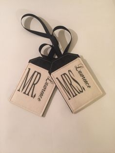 Personalized Mr and Mrs Luggage Tags by destinationhandmade on Etsy
